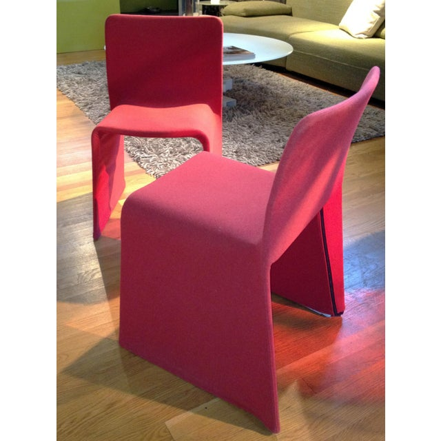 Patricia Urquiola Red Fabric Glove Dining Chairs - a Pair For Sale In Chicago - Image 6 of 6