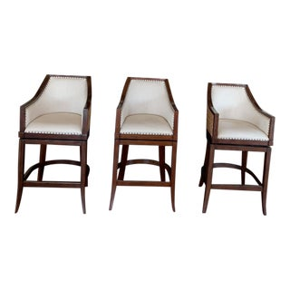 Modern Woven and Wood Bar Height Stools- Set of 3 For Sale