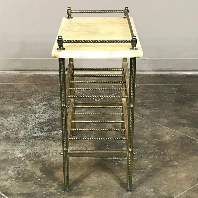 Mid-Century Brass & Marble Wine Serving Table For Sale - Image 4 of 11
