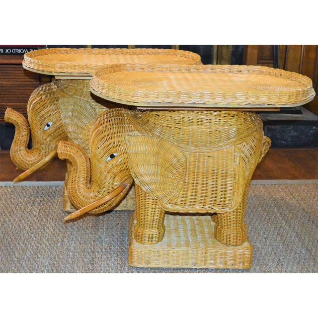 Boho Chic Wicker Rattan Elephant Tray Tables - a Pair For Sale In Houston - Image 6 of 7