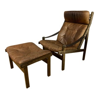 "Torbjørn Afdal ""Hunter"" Chair & Ottoman, Bruskbo Norway 1960s For Sale"