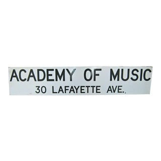1950s New York Subway Brooklyn Academy of Music Enamel Sign For Sale