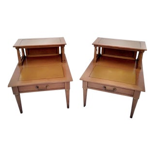 1950s Mid Century Modern Two Tiered Wooden Tables - a Pair
