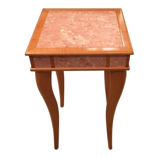 Pink Agate Marble Stone Bird's-Eye Maple Wood End Table For Sale