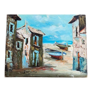 Original Seaside Village Scene Painting by Agustin Vaquero For Sale