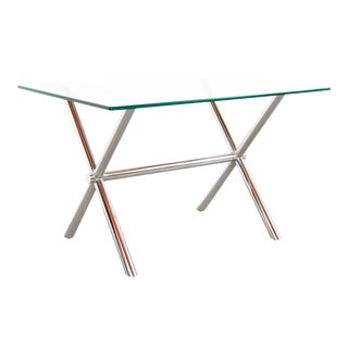 Mid Century Modern Chrome & Glass X Base Side / Occasional Table For Sale