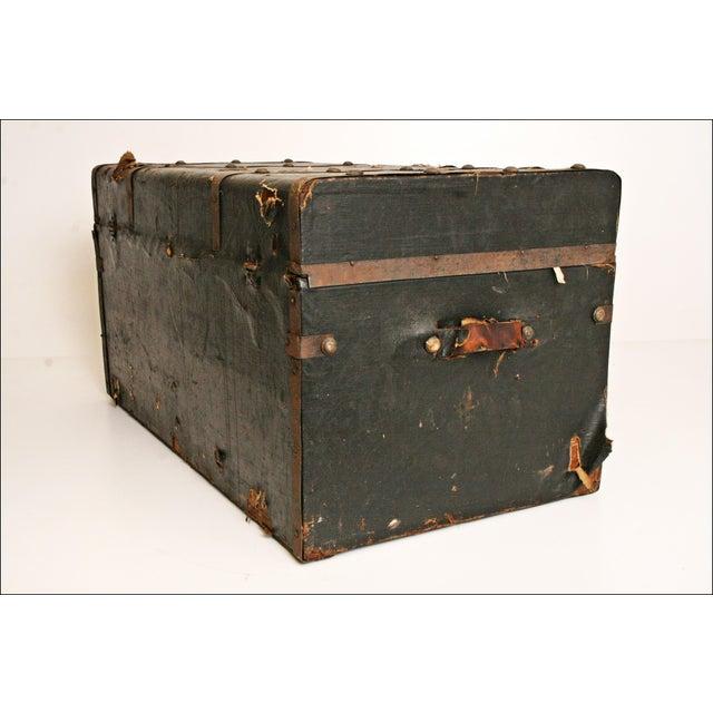 Vintage Industrial Black Steamer Trunk - Image 3 of 11