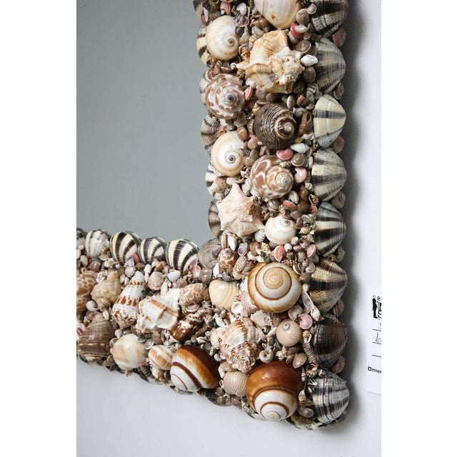 Hollywood Regency Shell Encrusted Wall Mirror For Sale - Image 4 of 10