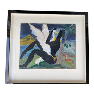 """1940s """"Leda and the Swan"""" Oil Painting by David Sinclair Nixon, Framed For Sale"""