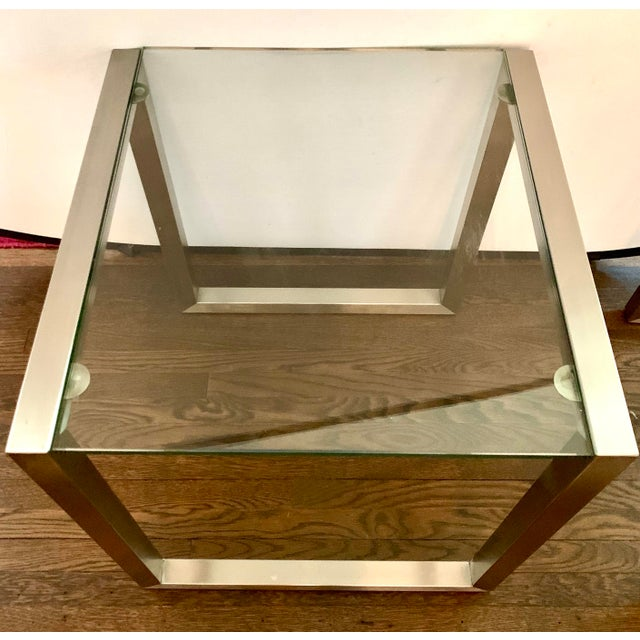 Mid-Century Modern Ethan Allen Mid-Century Style Chrome and Glass End Table, Pair For Sale - Image 3 of 6