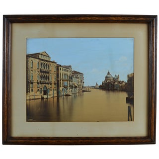 19th Century Framed Hand Colored Albumen Photograph of Palazzo Cavalli, Venice For Sale