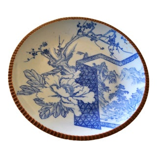 Sometsuke Blue White Meiji Pottery Charger Platter For Sale