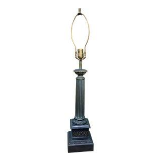 1940s Roman Motif Metal Column Lamp For Sale