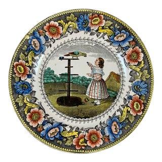 Creil Polychrome Transferware Polychrome Plate – Le Perroquet, Circa 1830 For Sale