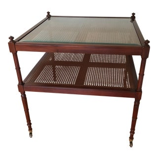 "Baker 30"" Mahogany Cane Rolling Table For Sale"
