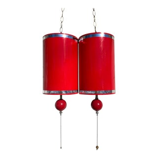 1970s Glossy Red Hanging Swag Lights - a Pair For Sale