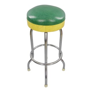 Vintage Mid Century Duro-Chrome Green and Yellow Vinyl Seat Swiveling Bar Stool For Sale