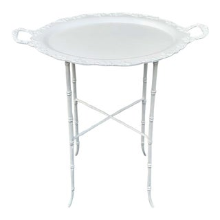 Faux Bamboo and Grape Motif White Enameled Tray Table, Provenance Celine Dion - a Pair For Sale