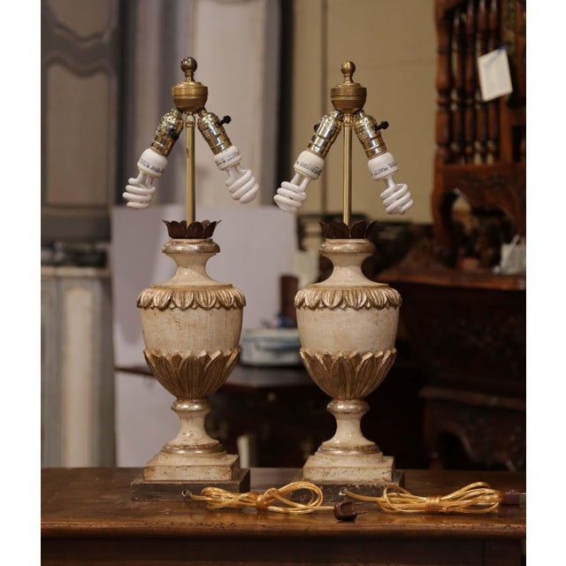 Italian Carved Wood Polychrome and Painted Urn Shape Table Lamps - a Pair For Sale - Image 11 of 13