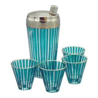 Art Deco Glass Cocktail Shaker With Shot Glasses - 5 Piece Set For Sale