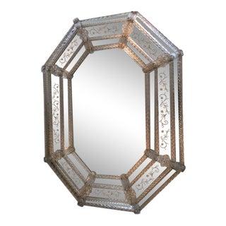 Art Nouveau Octagonal Etched Mirror For Sale
