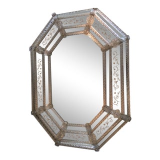 Venetian Art Nouveau Octagonal Etched Mirror For Sale