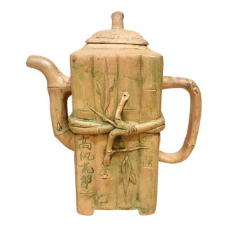 Mid 20th Century Chinese Yixing Duan Ni Bamboo Form Teapot With Makers Marks For Sale