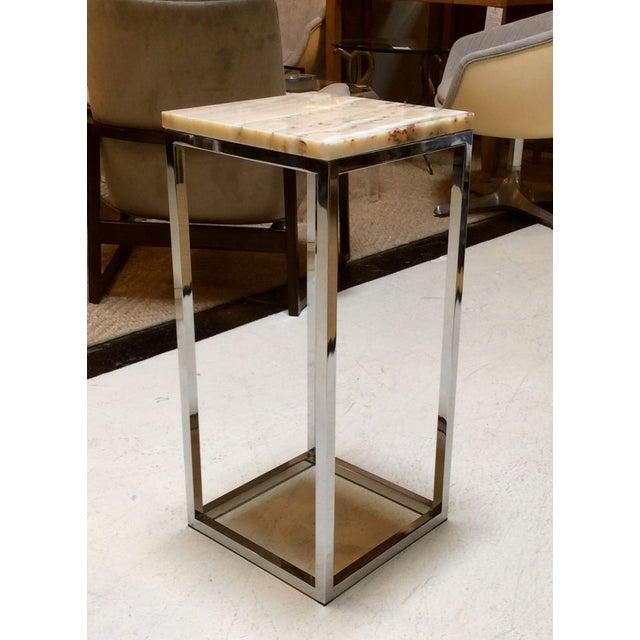 Milo Baughman Chrome & Marble Pedestal - Image 2 of 7