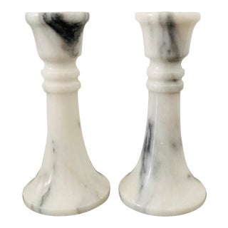 Vintage White Marble Candlesticks - a Pair For Sale