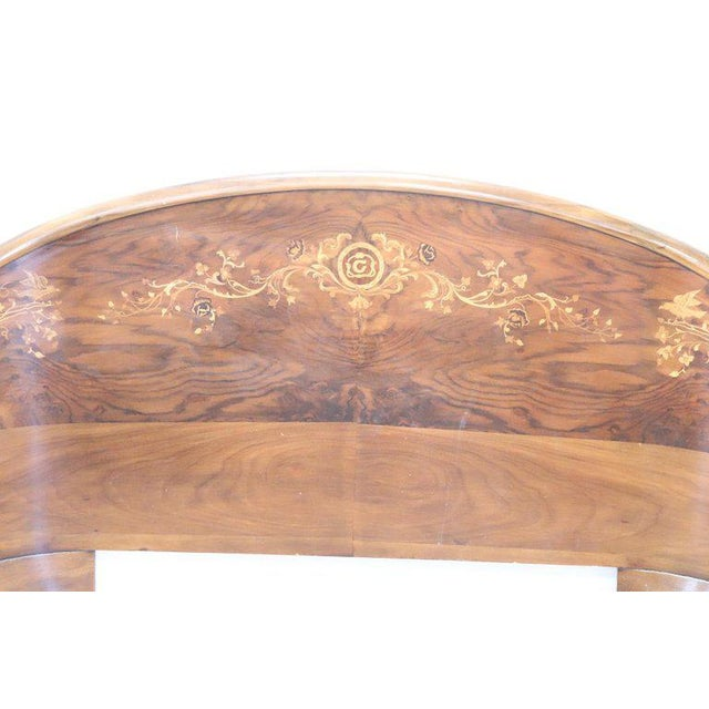 20th Century Italian Design Art Deco Inlaid Wood Double Bed For Sale - Image 9 of 12