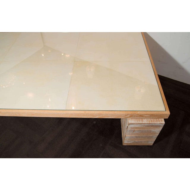 Tan Monumental Limed Oak Coffee Table With Parchment Top For Sale - Image 8 of 8