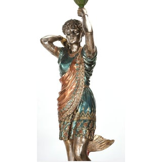 Life Size Bronze Torchiere Figural Lamps Polychrome Decoration Preview