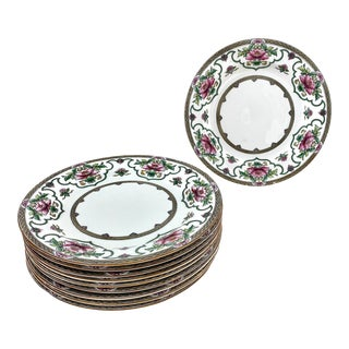 Vintage Royal Worcester Dinner Plates Pink Lotus Set of 10 For Sale