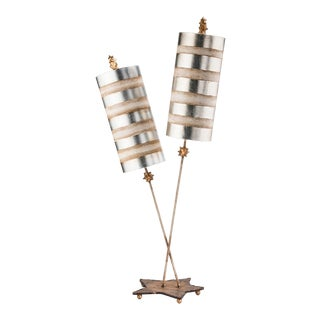 Nettle Luxe 2-light Double Buffet Table Lamp, Silver For Sale