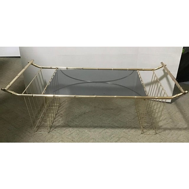 Mid-Century Faux Bamboo Brass Bed Tray Magazine Rack For Sale - Image 9 of 9