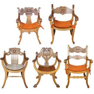 Late 19th Century Antique Victorian Renaissance Revival Oak Curule Seat Chairs- Set of 4 For Sale