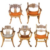 Image of Late 19th Century Antique Victorian Renaissance Revival Oak Curule Seat Chairs- Set of 5 For Sale