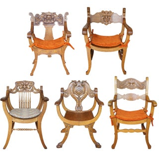Late 19th Century Antique Victorian Renaissance Revival Oak Curule Seat Chairs- Set of 5 For Sale