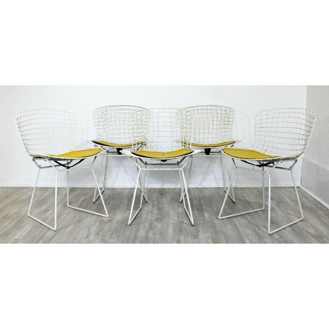 1980s Contemporary Modern Harry Bertoia for Knoll Set 5 Side Dining Chairs 1980 Yellow For Sale - Image 5 of 11