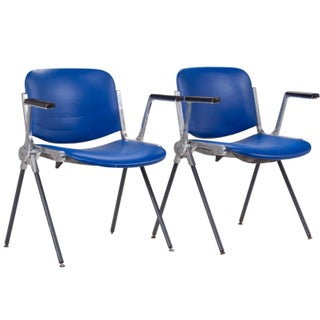 Giancarlo Piretti Royal Blue Chairs - a Pair