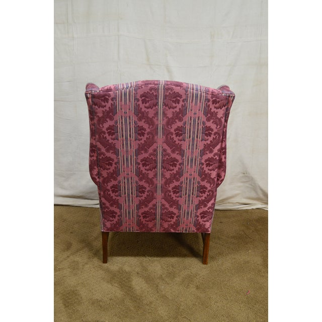 Ethan Allen Chippendale Style Cherry Clean Upholstered Wing Chair For Sale - Image 11 of 12