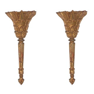 Pair of Electrified Italian Carved Giltwood Sconces