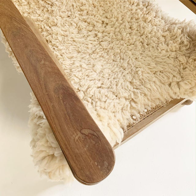 Wood British Colonial Plantation Chairs With Sheepskins, Pair For Sale - Image 7 of 10