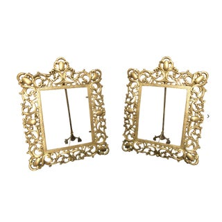 Ornate Large Cast Gilt Brass Picture Frames With Easel Backs - a Pair For Sale