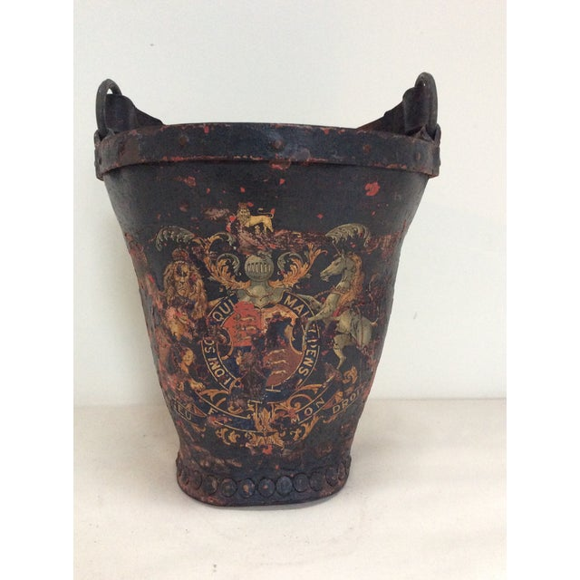 Antique Leather Coat of Arms Fire Bucket - Image 6 of 9