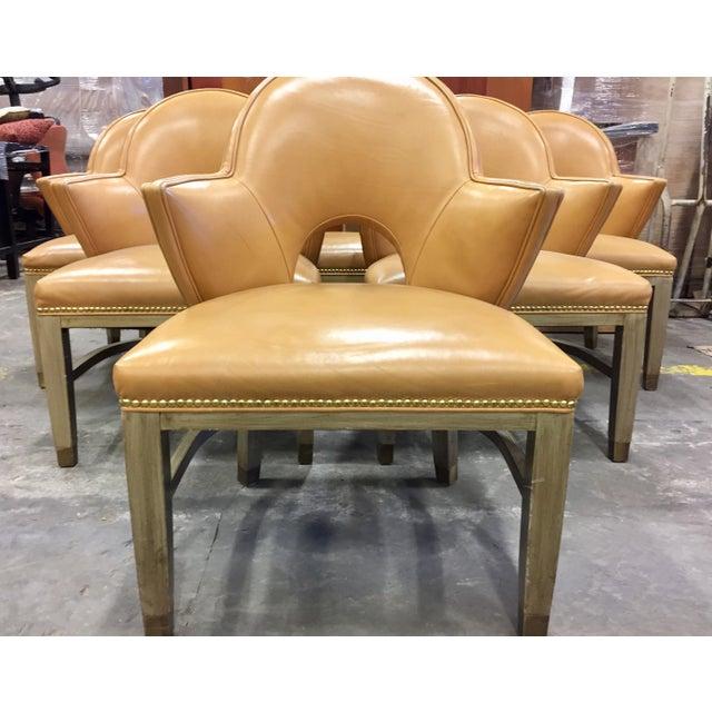 Custom Ordered Leather Nailhead Armchairs - Set of 6 - Image 3 of 11