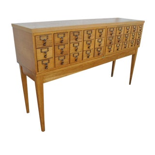 1960s Mid Century Modern Gaylord Co. Oak Library Card Catalog Console