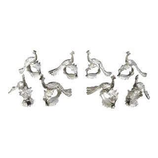 Silverplate Peacock Napkin Holders - Set of 8 For Sale