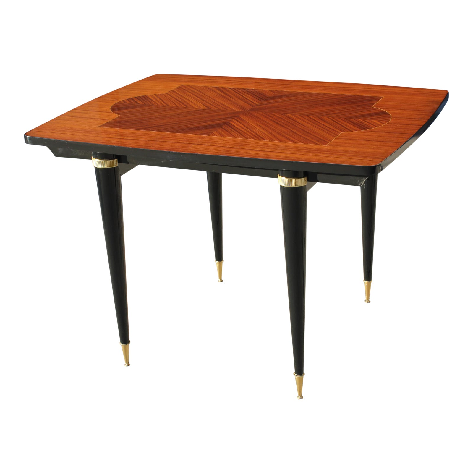 French Art Deco Exotic Macassar Ebony Center Table Or Dining