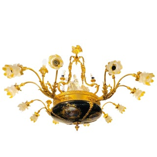 1960s Vintage Sèvres Porcelain Style 16-Light Palatial Bronze Chandelier For Sale